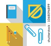 set of stationary flat icon in... | Shutterstock .eps vector #1068096899