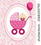 a little girl in a pink...   Shutterstock .eps vector #1068103790
