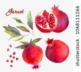wattercolor garnet set... | Shutterstock . vector #1068111266