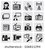 vector black reporter icons set | Shutterstock .eps vector #106811294