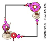sweet and tasty donuts  coffee...   Shutterstock .eps vector #1068123128