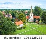 aerial view of brockham village ...   Shutterstock . vector #1068125288