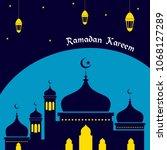 ramadan kareem greeting card... | Shutterstock .eps vector #1068127289