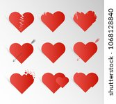 set of red hearts for love  for ...   Shutterstock .eps vector #1068128840