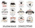 wild animals badges set and... | Shutterstock . vector #1068129560