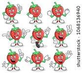 strawberry character vector...   Shutterstock .eps vector #1068136940