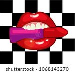 red lips with lipstick on a... | Shutterstock .eps vector #1068143270