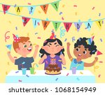 a group of kids celebrating a... | Shutterstock .eps vector #1068154949