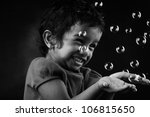 Black And White Image Of Happy...