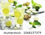 ginger  lime  and mint... | Shutterstock . vector #1068157379