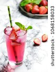 strawberry and mint refreshing... | Shutterstock . vector #1068158033