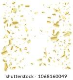 golden foil confetti falling... | Shutterstock .eps vector #1068160049