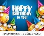 birthday smileys vector... | Shutterstock .eps vector #1068177650
