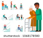 disabled handicapped diverse... | Shutterstock .eps vector #1068178580