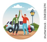 young friends traveling with car | Shutterstock .eps vector #1068186194