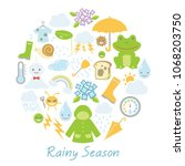 rainy season in japan vector... | Shutterstock .eps vector #1068203750