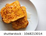 french toasted slices bread and ...   Shutterstock . vector #1068213014