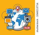 social media technological | Shutterstock .eps vector #1068213716