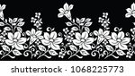 seamless black and white floral ... | Shutterstock .eps vector #1068225773