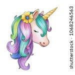 cute  magic unicorn portrait ... | Shutterstock . vector #1068246563