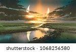 beautiful scenery of water road ... | Shutterstock . vector #1068256580