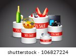 illustration of display of various product in sale kept on platform - stock vector