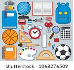 school supplies  cute vector | Shutterstock .eps vector #1068276509