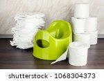 children's toilet pot green ... | Shutterstock . vector #1068304373