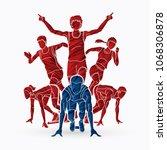 start running  people running... | Shutterstock .eps vector #1068306878