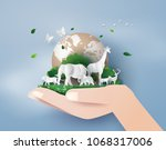 Stock vector concept of world wildlife day and environment with the animal in forest paper art and digital 1068317006