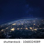 night view of planet earth from ... | Shutterstock . vector #1068324089