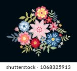 embroidery. bouquet with... | Shutterstock .eps vector #1068325913