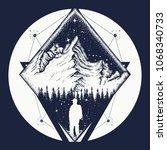 symbol of climbing  camping ... | Shutterstock .eps vector #1068340733