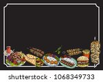 hand drawn turkish food on a... | Shutterstock .eps vector #1068349733