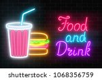 neon food and drink glowing... | Shutterstock . vector #1068356759