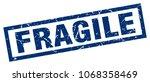 square grunge blue fragile stamp | Shutterstock .eps vector #1068358469
