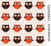 seamless owls vector pattern | Shutterstock .eps vector #106836053