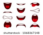 comic book cartoon mouth set... | Shutterstock .eps vector #1068367148
