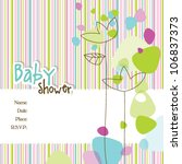 Stock vector baby arrival card 106837373
