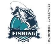 fishing bass logo. bass fish... | Shutterstock . vector #1068374318