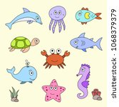 colourful set of sea animals ... | Shutterstock .eps vector #1068379379