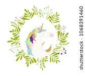 illustration of unicorn card.... | Shutterstock . vector #1068391460