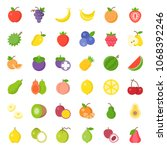 cute fruit flat icon set  such... | Shutterstock .eps vector #1068392246