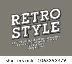 vector rotated retro font.... | Shutterstock .eps vector #1068393479