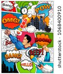 comic book page divided by... | Shutterstock .eps vector #1068400910
