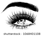 stylish woman with makeup lashes | Shutterstock .eps vector #1068401108