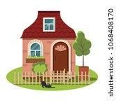 cute cozy cottage for a fairy... | Shutterstock .eps vector #1068408170