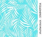 white leaves pattern on blue | Shutterstock .eps vector #1068409316
