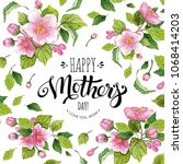 happy mother's day card with... | Shutterstock . vector #1068414203