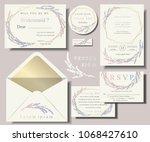 set of wedding invitation card... | Shutterstock .eps vector #1068427610